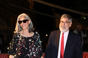 Deborah Nadoolman Landis and John Landis arrive at the dinner after the Opening Ceremony during the 74th Venice Film Festival at Excelsior Hotel on August 30, 2017 in Venice, Italy.