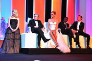 (L-R) Actress Melanie Lauren, Jury members Robert De Niro, Uma Thurman,  Mahamat-Saleh Haroun and Jude Law onstage at the Opening Ceremony at the Palais des Festivals during the 64th Cannes Film Festival on May 11, 2011 in Cannes, France.