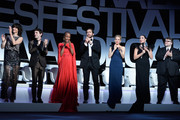 (From L to R) Sophie Marceau,Xavier Dolan,Rokia Traore,Jake Gyllenhaal,Sienna Miller,Rossy de Palma and Guillermo Del Toro during the Opening Ceremony of the 68th annual Cannes Film Festival on May 13, 2015 in Cannes, France.