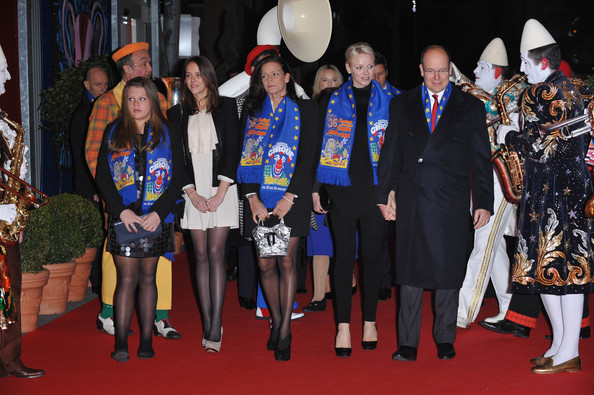 Princess Charlene of Monaco (L-R) Camille Gottlieb, Pauline Ducruet, Princess Stephanie of Monaco, Princess Charlene of Monaco and Prince Albert II of Monaco attend the opening ceremony of the Monte-Carlo 36th International Circus Festival on January 19, 2012 in Monte-Carlo, Monaco.