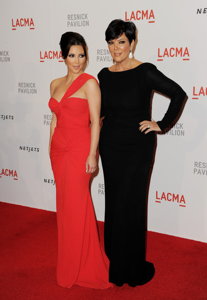 "TV personalities Kim Kardashian (L) and her mom Kris Jenner arrive at the opening Gala and ""Unmasking"" for the Resnick Pavilion at LACMA on September 25, 2010 in Los Angeles, California."