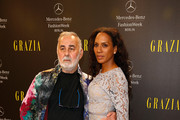 Udo Walz and Barbara Becker arrive for the Opening Night by Grazia fashion show during the Mercedes-Benz Fashion Week Spring/Summer 2015 at Erika Hess Eisstadion on July 7, 2014 in Berlin, Germany.