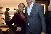Emily Loftiss and Rob Gronkowski  attend the Opening of the Salvatore Ferragamo Copley Place store on November 2, 2017 in Boston, Massachusetts.