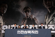 (L to R) Actor Lee Jung-Jae, Liam Neeson, director John Lee, producer Jeong Tae-Won attend the press conference for 'Operation Chromite' on July 13, 2016 in Seoul, South Korea.