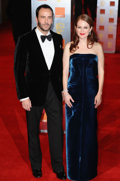 Actress Julianne Moore and Tom Ford attend the 2011 Orange British Academy Film Awards at The Royal Opera House on February 13, 2011 in London, England.