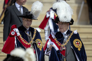 Prince William, Duke of Cambridge and Prince Andrew, Duke of York talk as they leave St George's Chapel after attending the annual Order of the Garter Service in Windsor Castle on June 18, 2018 in Windsor, England. The Order of the Garter is the senior and oldest British Order of Chivalry, founded by Edward III in 1348. The Garter ceremonial dates from 1948, when formal installation was revived by King George VI for the first time since 1805.