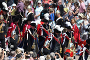Prince Andrew, Duke of York (Front-L) Prince Edward, Earl of Wessex (Front-R), Prince Charles, Prince of Wales (Back-L) and Prince William, Duke of Cambridge (Back-R) march during the Order Of The Garter Service at Windsor Castle on June 18, 2018 in Windsor, England. The Order of the Garter is the senior and oldest British Order of Chivalry, founded by Edward III in 1348. The Garter ceremonial dates from 1948, when formal installation was revived by King George VI for the first time since 1805.