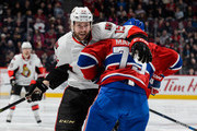 Andrei Markov #79 of the Montreal Canadiens defends against Zack Smith #15 of the Ottawa Senators during the NHL game at the Bell Centre on December 12, 2015 in Montreal, Quebec, Canada.