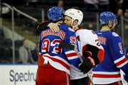 Mika Zibanejad #93 of the New York Rangers shakes hands with Chris Neil #25 of the Ottawa Senators after Game Six of the Eastern Conference Second Round during the 2017 NHL Stanley Cup Playoffs at Madison Square Garden on May 9, 2017 in New York City. The Ottawa Senators  defeated the New York Rangers with a score of 4 to 2.