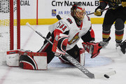 Craig Anderson #41 of the Ottawa Senators blocks a Vegas Golden Knights' shot in the second period of their game at T-Mobile Arena on March 2, 2018 in Las Vegas, Nevada.