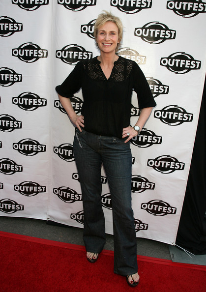 Actress Jane Lynch arrives to the 27th Annual Los Angeles Gay &  Lesbian Film Festival screening of 'Glee' held at the Director's Guild  of America on July 18, 2009 in Los Angeles, California.