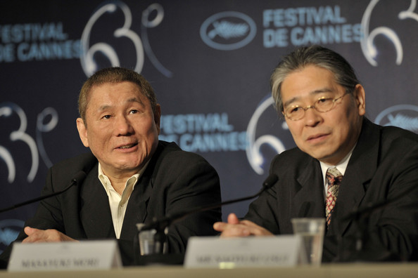 "Masayuki Mori Actor Masayuki Mori (R) and director Takeshi Kitano attend the ""Outrage"" Press Confernce at the Palais des Festivals during the 63rd Annual Cannes Film Festival on May 17, 2010 in Cannes, France."
