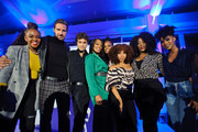 """(L to R) Gia Peppers, Ed Quinn, Daniel Croix Henderson, Kron Moore. Novi Brown, KJ Smith, Mignon Von, and Ebony Obsidian attend BET's screening of """"The Oval"""" and """"Sistas"""" on October 17, 2019 in Chicago, Illinois."""