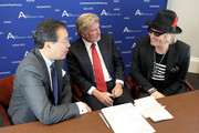 (L-R) Acclaimed artist and arts educator Yo-Yo Ma, AFTA President and CEO Robert Lynch and Guns N' Roses drummer Matt Sorum on behalf of Ovation participate in a discussion on Arts Advocacy Day sponsored by Ovation at Cannon House Office Building on April 9, 2013 in Washington, DC.