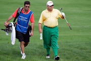 James Mason of United States talks with his caddie on the 6th hole during day three of the PGA Champions Tour - Posco E&C Songdo Championship at Jack Nicklaus Golf Club on September 12, 2010 in Incheon, South Korea.