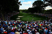 A general view is seen as Tiger Woods of the United States lines up his putt on the 13th green during the second round of the 95th PGA Championship on August 9, 2013 in Rochester, New York.
