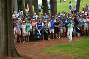 Jordan Spieth of the United States plays his shot out of the pine straw on the 10th hole during the second round of the 2017 PGA Championship at Quail Hollow Club on August 11, 2017 in Charlotte, North Carolina.