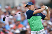 Jordan Spieth of the United States plays his shot from the first tee  during the second round of the 2017 PGA Championship at Quail Hollow Club on August 11, 2017 in Charlotte, North Carolina.