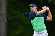 Jordan Spieth of the United States plays his shot from the fifth tee  during the second round of the 2017 PGA Championship at Quail Hollow Club on August 11, 2017 in Charlotte, North Carolina.