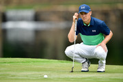 Jordan Spieth of the United States lines up a putt on the seventh green during the second round of the 2017 PGA Championship at Quail Hollow Club on August 11, 2017 in Charlotte, North Carolina.