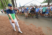 Jordan Spieth of the United States prepares to play  his shot out of the pine straw on the 10th hole during the second round of the 2017 PGA Championship at Quail Hollow Club on August 11, 2017 in Charlotte, North Carolina.
