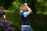 James Wright of Market Drayton Golf Club plays his first shot on the 1st tee during the PGA National Pro-Am Qualifiers - Midland at Little Aston Golf Club on June 7, 2016 in Sutton Coldfield, England.