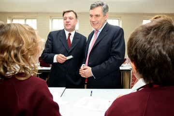 Gordon Brown Ed Balls PM Brown And Ed Balls Visit Sussex School