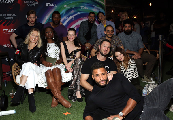 'American Gods' And 'Now Apocalypse' Live Viewing Party At #TwitterHouse [twitterhouse,american gods now apocalypse live viewing party,l-r,second row,first row,social group,event,fashion,party,thigh,fun,leg,leisure,crowd,night,ricky whittle,demore barnes,bruce langley,yetide badaki,roxane mesquida]