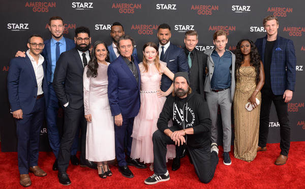 'American Gods' Season Two Red Carpet Premiere Event [premiere,event,red carpet,carpet,flooring,l-r,event,american gods season two red carpet premiere,american gods season two red carpet premiere event,pablo schreiber,omid abtahi,emily browning,ricky whittle,demore barnes,mousa kraish]