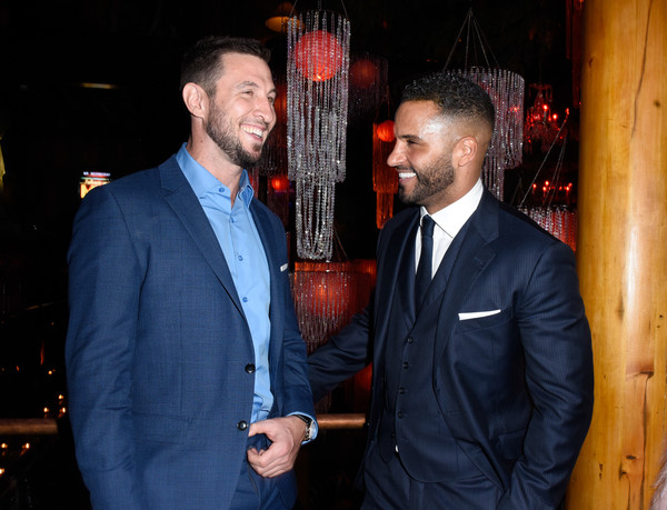 'American Gods' Season Two Red Carpet Premiere Event [suit,event,formal wear,fun,party,facial hair,tuxedo,california,los angeles,event,american gods season two red carpet premiere,american gods season two red carpet premiere event,ricky whittle,pablo schreiber]