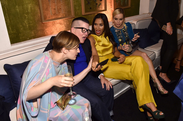 2015 Entertainment Weekly Pre-Emmy Party - Inside [yellow,fun,event,youth,design,party,temple,ceremony,leisure,team,padma lakshmi,taryn manning,lea delaria,l-r,chelsea,west hollywood,california,fig olive melrose place,fairless,entertainment weekly pre-emmy party]