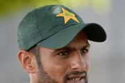 Shoaib Malik of Pakistan speaks to the media during a nets session at the ICC Cricket Academy on October 20, 2015 in Dubai, United Arab Emirates.