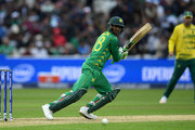 Shoaib Malik of Pakistan bats during the ICC Champions Trophy match between Pakistan and South Africa at Edgbaston on June 7, 2017 in Birmingham, England.