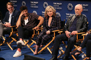 """(L-R) Christoph Sanders, Jordan Masterson, Amanda Fuller and Hector Elizondo from """"Last Man Standing"""" appear on stage at The Paley Center for Media's 2018 PaleyFest Fall TV Previews - Fox at The Paley Center for Media on September 13, 2018 in Beverly Hills, California."""