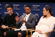 "(L-R) Felix Mallard, Damon Wayans Jr. and Amber Stevens West from ""Happy Together"" appear on stage at The Paley Center for Media's 2018 PaleyFest Fall TV Previews - CBS at The Paley Center for Media on September 12, 2018 in Beverly Hills, California."