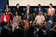 "(L-R, front row ) Wilson Bethel, Simone Missick, Michael M. Robin, Sunil Nayar and Greg Spottiswood (L-R, back row) Lindsay Mendez, Ruthie Ann Miles, Marg Helgenberger, J. Alex Brinson and Jessica Camacho of ""All Rise"" speak on stage at The Paley Center for Media's 2019 PaleyFest Fall TV Previews - CBS at The Paley Center for Media on September 12, 2019 in Beverly Hills, California."