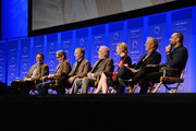"""(L-R) Writers/Executive Producers Vince Gilligan, Peter Gould, actors Bob Odenkirk, Michael McKean, Rhea Seehorn, Patrick Fabian, and Michael Mando attend The Paley Center For Media's 33rd Annual PALEYFEST Los Angeles """"Better Call Saul"""" at Dolby Theatre on March 12, 2016 in Hollywood, California."""