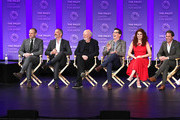 """(L-R) Moderator Dan Bucatinsky, creators/executive producers, Max Mutchnick, and David Kohan, executive producer James Burrows, actor Sean Hayes, actress Debra Messing, actor Eric McCormack, and actress Megan Mullally of the television show """"Will & Grace"""" speak during The Paley Center for Media's 35th Annual PaleyFest Los Angeles at the Dolby Theatre on March 17, 2018 in Hollywood, California."""