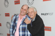 """Actors Robert Morse and Matthew Weiner  attend the PaleyFest 2012 honoring of """"Mad Men"""" held at the Saban Theatre on March 13, 2012 in Beverly Hills, California."""