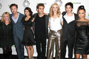 """(L-R) Executive producer Julie Plec, actor Matt Davis, actress Nina Dobrev, actor Paul Wesley, actress Candice Accola, actor Ian Somerhalder and actress Kat Graham attend The Paley Center For Media's PaleyFest 2012 Honoring """"The Vampire Diaries"""" at the Saban Theatre on March 10, 2012 in Beverly Hills, California."""