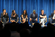 (L-R) Executive producers Ben Silverman, Jennie Snyder, actor Jaime Camil, actress Gina Rodriguez, actress Candice Patton, actor Jesse L. Martin, executive producers Greg Berlanti, and Andrew Kreisberg, and moderator Natalie Abrams speak during The Paley Center for Media's PaleyFest 2014 Fall TV Previews - The CW, at The Paley Center for Media on September 6, 2014 in Beverly Hills, California.