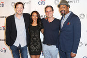 (L-R)  Executive producer Andrew Kreisberg, actress Candice Patton, executive producer Greg Berlanti, and actor Jesse L. Martin attend The Paley Center for Media's PaleyFest 2014 Fall TV Previews - The CW, at The Paley Center for Media on September 6, 2014 in Beverly Hills, California.