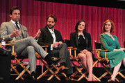 """(L-R) Actors Jon Hamm, Vincent Kartheiser, Elisabeth Moss, Christina Hendricks,on stage at The Paley Center For Media's PaleyFest 2014 Honoring """"Mad Men"""" at Dolby Theatre on March 21, 2014 in Hollywood, California."""