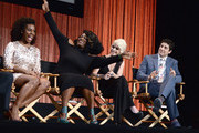 """Actors (L-R) Uzo Aduba, Danielle Brooks,Taryn Manning and Jason Biggs on stage at The Paley Center For Media's PaleyFest 2014 Honoring """"Orange Is The New Black"""" at Dolby Theatre on March 14, 2014 in Hollywood, California."""