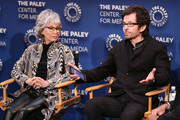 """Rita Moreno (L) and George Chakiris appear on stage at """"Words On Dance: Jerome Robbins and West Side Story"""" presented by The Paley Center for Media at The Paley Center for Media on October 11, 2018 in Beverly Hills, California."""