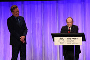 Conan O'Brien (L) and Bob Newhart appear on stage at The Paley Honors: A Special Tribute To Television's Comedy Legends at the Beverly Wilshire Four Seasons Hotel on November 21, 2019 in Beverly Hills, California.
