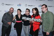 """(L-R) Graeme Manson, Tatiana Maslany, Jordan Gavaris, Marie Doyle Kennedy and Kristian Bruun attend a screening of """"Orphan Black"""" during PaleyFest New York 2015 at The Paley Center for Media on October 18, 2015 in New York City."""