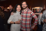 """Cinematographer Quyen Tran (L) and actor Andy Samberg attend the """"Palm Springs"""" premiere party at Audible Speakeasy during the 2020 Sundance Film Festival on January 26, 2020 in Park City, Utah."""