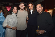 """(L-R) Cinematographer Quyen Tran, actors Tyler Hoechlin, Ella Balinska and David Park attend the """"Palm Springs"""" premiere party at Audible Speakeasy during the 2020 Sundance Film Festival on January 26, 2020 in Park City, Utah."""