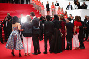 (L-R) Jury members Do-yeon Jeon, Jane Campion, Nicolas Winding Refn, Gael Garcia Bernal, Leila Hatami, Sofia Coppola, Zhangke Jia, Carole Bouquet and Willem Dafoe attend the red carpet for the Palme D'Or winners at the 67th Annual Cannes Film Festival on May 25, 2014 in Cannes, France.